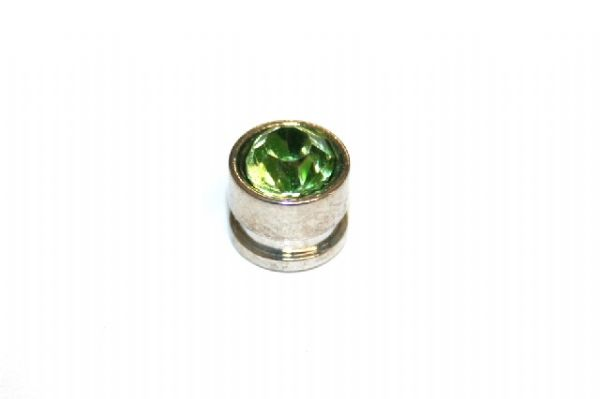 10pcs x 7mm*6mm Round metal bead with green rhinestone -- 1 hole -- S.A -- WC214 -- 5000011